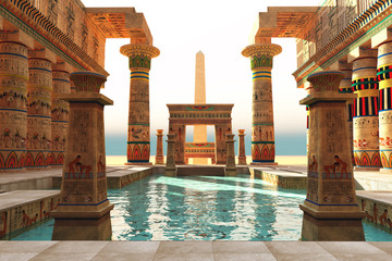 Egyptian Pool with Obelisk - Ornate Egyptian architecture with hieroglyphs surround a pool in historical Egypt with an obelisk standing guard.