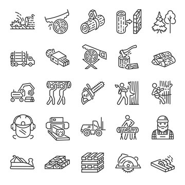 Logging, sawmill, icon set. Lumber, lumberjack, linear icons. Wood production. Line with editable stroke
