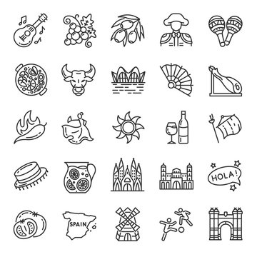 Spain, icon set. Spanish traditional holidays, landmark, clothing, buildings, linear icons. Line with editable stroke