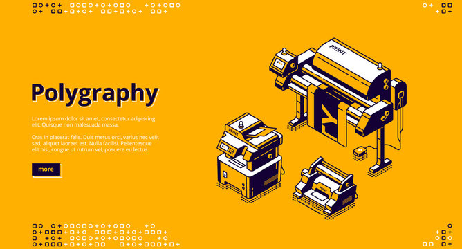 Polygraphy banner. Typography business, printing service. Vector landing page of printing house with isometric illustration of press equipment, offset and plotter