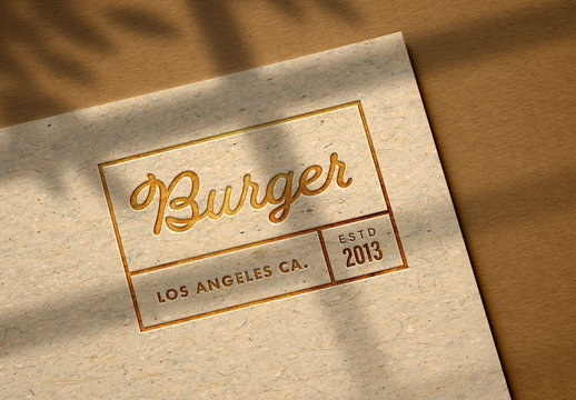 Debossed Logo Mockup on Kraft Paper