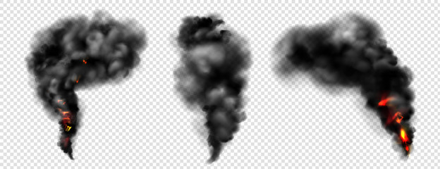 Black smoke with fire, dark fog clouds or steam trails. Industrial smog, factory or plant environmental air pollution isolated on transparent background, Realistic 3d vector illustration, icons set