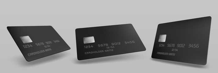 Black credit card mockup, isolated blank template with chip on grey background. Plastic mock up for business identity or branding presentation, payment financial tool, Realistic 3d vector illustration