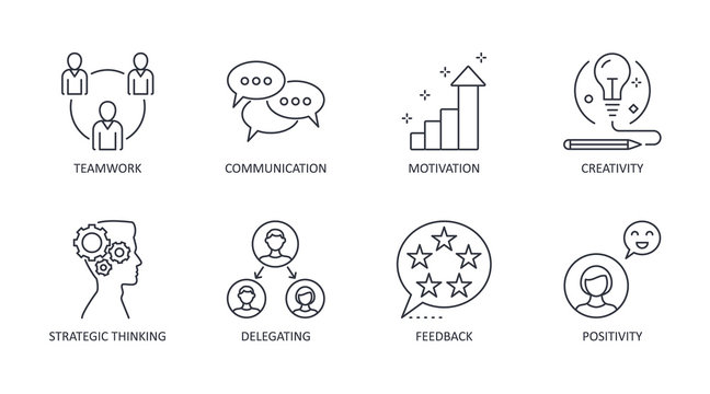 Leadership icons. Editable stroke vector icon set stock. Teamwork creativity motivation communication. Delegation strategic thinking, feedback positivity symbols