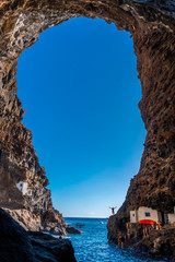 Spectacular interior of the cave in the town of Poris de Candelaria on the north-west coast of the island of La Palma, Canary Islands. Spain. Pirate town