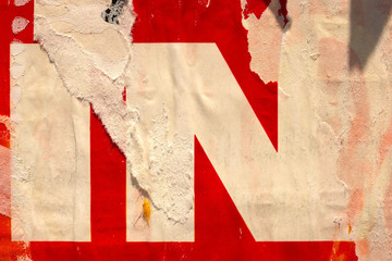 Old ripped torn posters grunge texture background creased crumpled paper backdrop placard surface /...