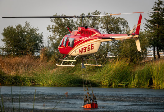 "Salinas, California - August 17, 2020:  A Cal Fire helicopter pilot collects a bucket of water from a pond to douse the ""River Fire"" in the hills Monterey County of the central coast."