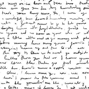 Seamless vector pattern imitating handwritten messy text, unreadable, illegible doodle cursive script background