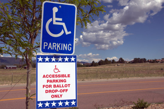 Ballot Box Drop Off Sign for Election - All Mail-In Voting With Wheelchair Handicap Accessible Parking