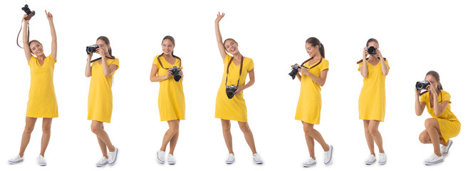 Photographer girl with the camera isolated