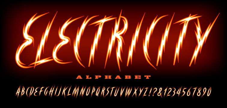 Electric alphabet; a zig zag lightning bolt font in warm bright colors.