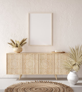 Mockup frame in Nomadic style interior background, 3d render