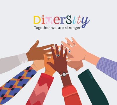 diversity together we are stronger and hands touching each other design, people multiethnic race and community theme Vector illustration