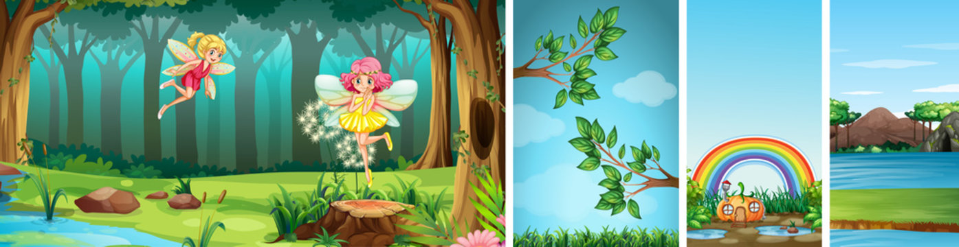 Four different scene of fantasy world with fantasy places and fantasy characters such as fairies