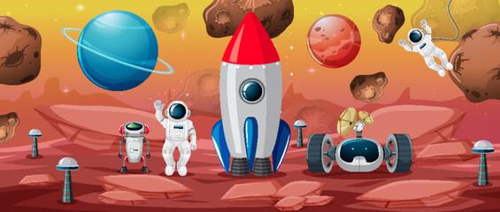 Wall Murals Kids Astronaut in space scene