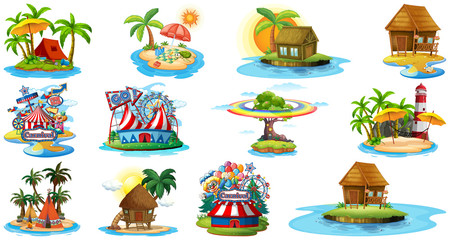 Self adhesive Wall Murals Kids Set of different bangalows and island beach theme and amusement park isolated on white background