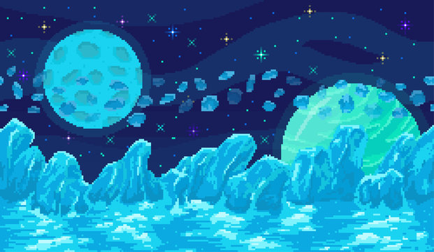 Space planet in pixel art. Background of space planet. Ice landscape with mountains, planet and stars. Pixelated location for game or application. 8 bit video game. Galaxy area with few planets