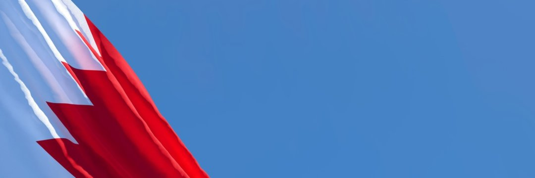 3D rendering of the national flag of Bahrain waving in the wind