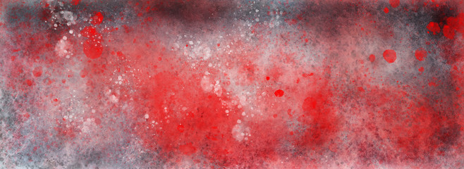 grunge background texture with red paint spatter and silver white and gray grungy textured design, old antique or vintage painted metal