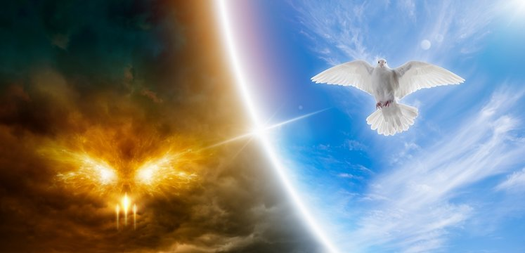 Religious image - heaven and hell, good and evil, light and darkness.