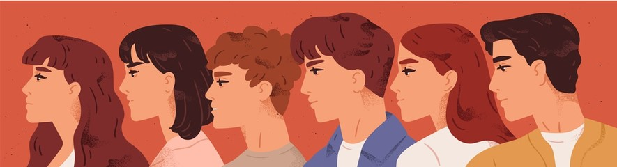 Group of young man and woman looking one direction vector flat illustration. Face profile of male and female characters. People association members. Teamwork, cooperation and friendship concept