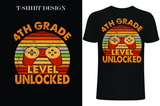 4th Grade Level Unlocked, First Grade Gift EPS Digital File.