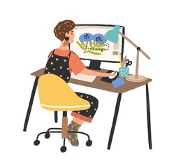 Woman freelance graphic designer working use computer vector flat illustration. Creative young female depict image in digital program isolated on white. Cute girl design creator at workplace