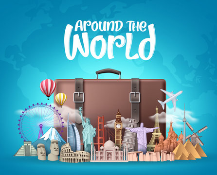 Travel around the world vector design. Travelling suitcase bag and famous landmarks around the world elements with around the world text in blue background. Vector illustration.