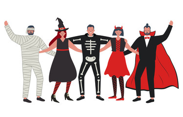 Halloween party. Young people in Halloween costumes stand together and hug. There is a vampire, witch, imp, skeleton and mummy in the picture. Vector illustration