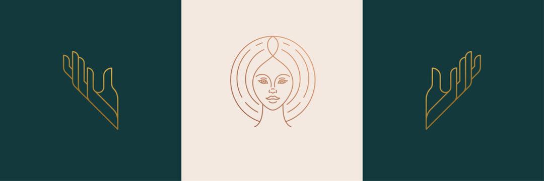 Vector line feminine decoration design elements set - female face and gesture hands illustrations minimal linear style