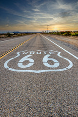 Fotobehang Route 66 U.S. Route 66 horizontal road sign at sunset, Amboy, California, USA