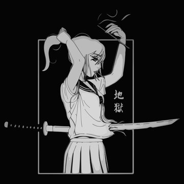 Anime girl with a dagger in her body smokes a cigarette