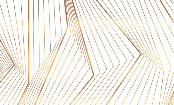 Abstract golden 3d lines refraction geometric minimal background. Vector art deco luxury design