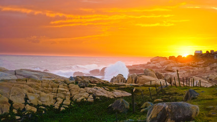 Breathtaking shot of beautiful and scenic sunset at Cabo Polonio