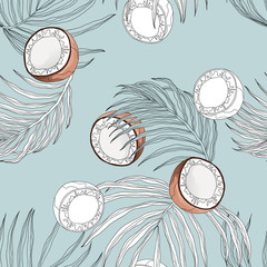Plant seamless pattern, hand drawn line art coconut and leaves on blue