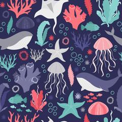 Photo sur Plexiglas Artificiel Pattern design for kids - under the sea. Vector illustration. Seamless pattern.