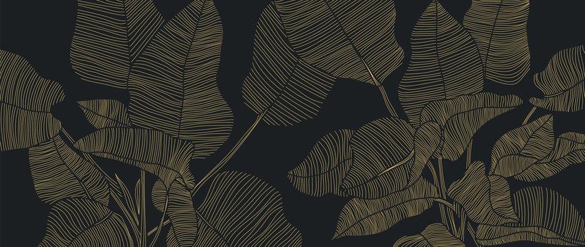 Golden leaf botanical modern art deco wallpaper background vector. Line arts background design for interior design, vector arts, fashion textile patterns, textures, posters, wrappers, gifts etc.