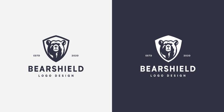 bear shield head logo vector