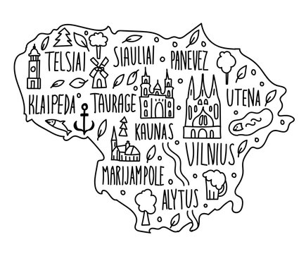 Hand drawn doodle Lithuania map. Lithuanian city names lettering and cartoon landmarks, tourist attractions cliparts. travel, banner concept design. Vilnius, utena, klaipeda, ancor.