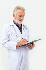 portrait of senore adult male doctor in uniform and stethoscope.