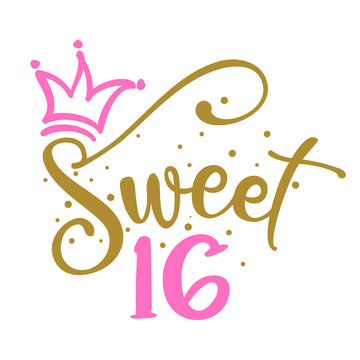 Sweet Sixteen (16th) Birthday teenage girl year anniversary. Princess Queen. Toppers for birthday cake. Number 16. Good for cake toppers, T shirts, clothes, mugs, posters, textiles, gifts, baby sets.