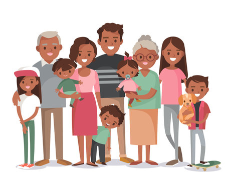 Big happy multi-generational afro-american family siblings relatives portrait. Vector people. Seniors mother and father with babies, children grandchildrens and grandparents. Grandma grandpa mom dad.