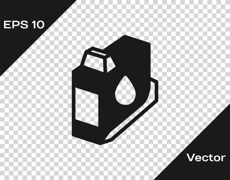 Black Printer ink cartridge icon isolated on transparent background. Vector.