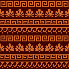 Greek ancient seamless vector pattern set - floral and geometric repetitive ornament, key pattern in brown and orange
