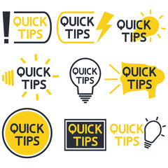 Quick tips. Yellow and black color icon with quicks tip text. Helpful idea, solution and trick illustration. Abstract banners with useful information, idea or advice with light bulb