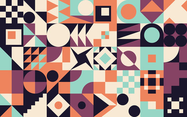 Neo Geo Art Abstract Geometric Vector Pattern Composition
