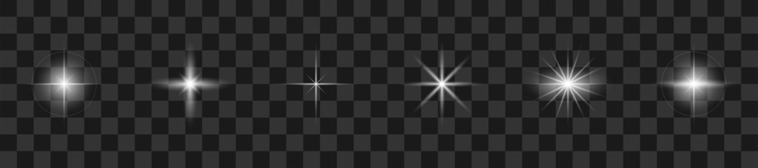 Glare light collection. Vector illustration. Realistic white stars with glare.