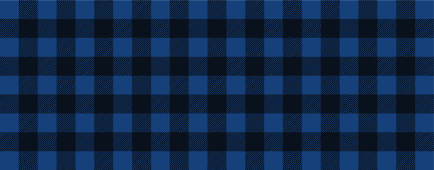 Blue lumberjack style. Vector gingham and bluffalo check line pattern. Checkered picnic cooking table cloth. Texture from rhombus, squares for plaid, tablecloths. Flat tartan checker print