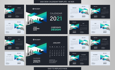 Desk Calendar 2021 template - 12 months included - A5 Size