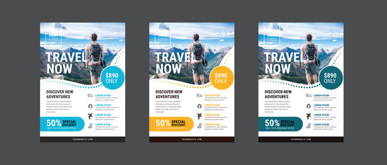 Fototapeta Travel poster or flyer pamphlet brochure design layout space for photo background. Yellow Travel flyer template for travel agency obraz